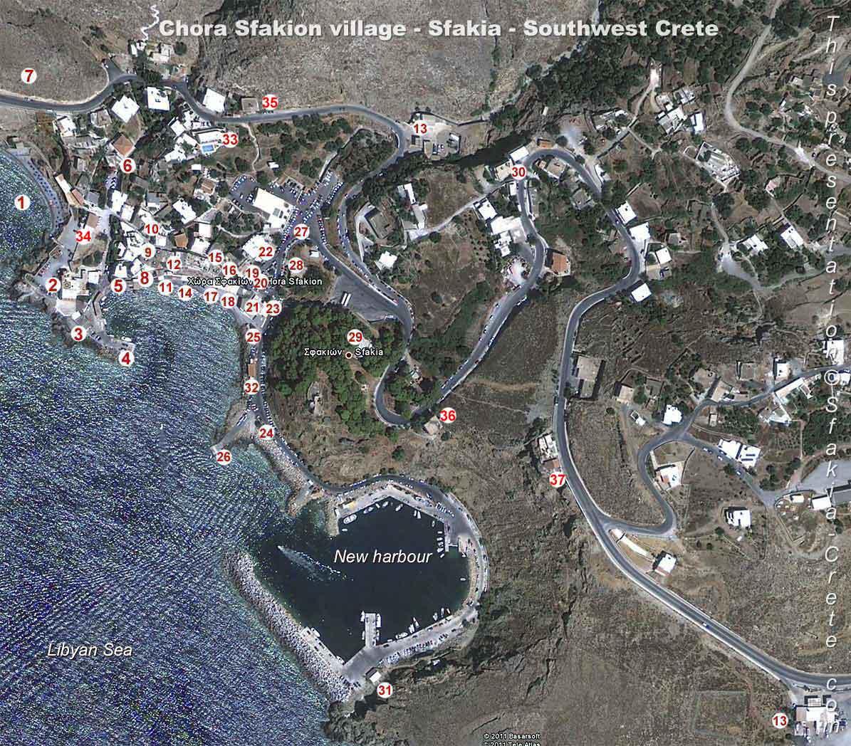 Map Of Chora Sfakion - Sfakia  Southwest Crete